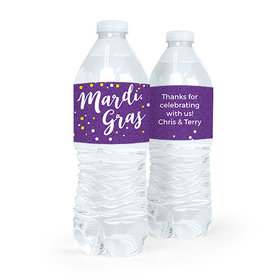 Personalized Mardi Gras Big Easy Water Bottle Sticker Labels (5 Labels)