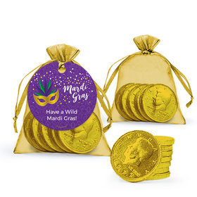 Personalized Mardi Gras Big Easy Chocolate Coins in XS Organza Bags with Gift Tag