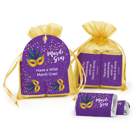 Personalized Mardi Gras Big Easy Hershey's Miniatures in Organza Bags with Gift Tag