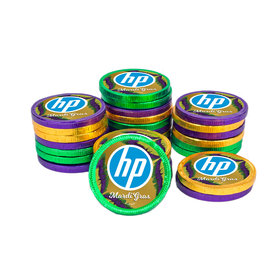 Personalized Chocolate Coins - Mardi Gras Add Your Logo (84 Pack)