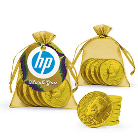 Personalized Mardi Gras Add Your Logo Chocolate Coins in XS Organza Bags with Gift Tag