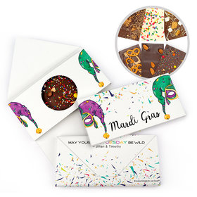 Personalized Mardi Gras Jammin' Jester Hats Party Gourmet Infused Belgian Chocolate Bars (3.5oz)