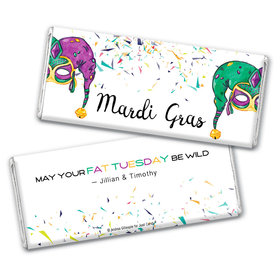 Personalized Mardi Gras Jammin' Jester Hats Hershey's Chocolate Bar Wrappers