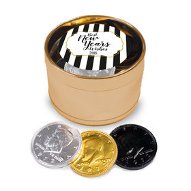 New Year's Eve Stripes Milk Chocolate Coins in Medium Gold Plastic Tin (24 Coins)