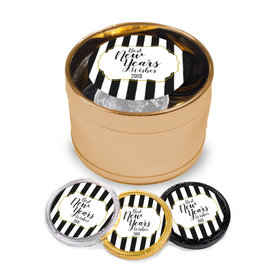 New Year's Eve Stripes Milk Chocolate Coins in Medium Gold Plastic Tin (24 Coins w/ stickers)