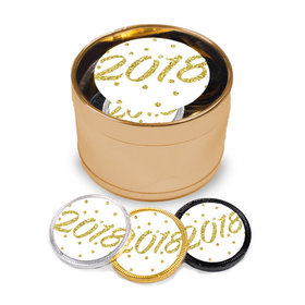 New Year's Eve Dots Milk Chocolate Coins in Medium Gold Plastic Tin (24 Coins w/ stickers)