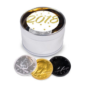 New Year's Eve Dots Milk Chocolate Coins Medium Silver Plastic Tin (24 Coins)