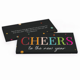 Deluxe Personalized New Year's Eve Cheers Chocolate Bar in Gift Box