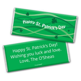 St. Patrick's Day Personalized Chocolate Bar Ribbons and Clover