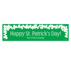 Personalized White Clover on Green St. Patrick's Day Banner