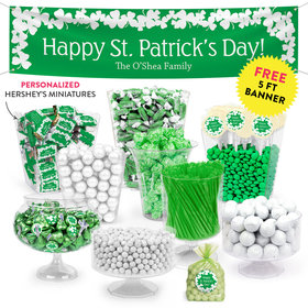 Personalized St. Patrick's Day White Clovers Deluxe Candy Buffet
