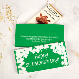 Deluxe Personalized St. Patrick's Day White Clovers Godiva Chocolate Bar in Gift Box