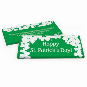 Deluxe Personalized White Clovers St. Patrick's Day Chocolate Bar in Gift Box