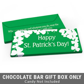 Deluxe Personalized White Clovers St. Patrick's Day Candy Bar Cover