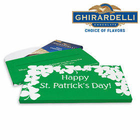 Deluxe Personalized White Clovers St. Patrick's Day Ghirardelli Peppermint Bark Bar in Gift Box (3.5oz)
