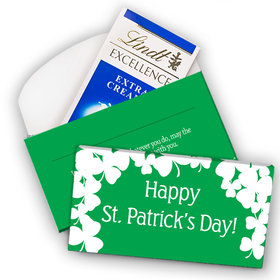 Deluxe Personalized St. Patrick's Day White Clovers Lindt Chocolate Bar in Gift Box (3.5oz)