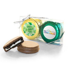 Add Your Logo St. Patricks Day Watercolor 2Pk Chocolate Covered Oreo Cookies