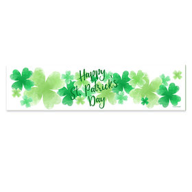 Personalized Watercolor Clovers St. Patrick's Day Banner