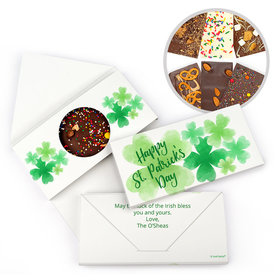 Personalized Day Watercolor Clovers St. Patrick's Gourmet Infused Belgian Chocolate Bars (3.5oz)
