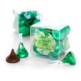 Personalized St. Patrick's Day Watercolor Hershey's Kisses Clear Gift Box