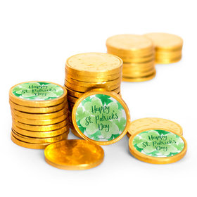 St. Patrick's Day Watercolor Clovers Chocolate Coins with Stickers (72 Pack)