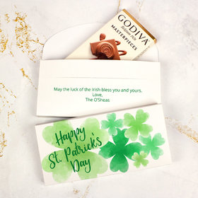 Deluxe Personalized St. Patrick's Day Watercolor Clovers Godiva Chocolate Bar in Gift Box