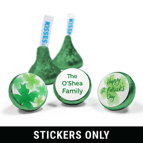 "Personalized St. Patrick's Day Watercolor Clovers 3/4"" Sticker (108 Stickers)"