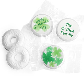 Personalized St. Patrick's Day Watercolor Clovers Life Savers Mints