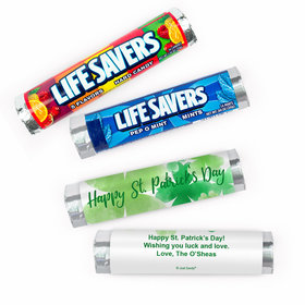 Personalized St. Patrick's Day Watercolor Clovers Lifesavers Rolls (20 Rolls)