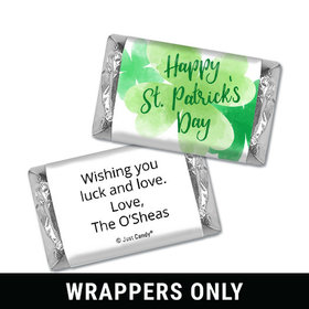 Personalized St. Patrick's Day Watercolor Clovers Mini Wrappers
