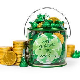Personalized St. Patrick's Day Watercolor Hershey's Kisses & Gold Coins Filled Green Paint Can