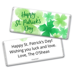 Personalized St. Patrick's Day Watercolor Clovers Chocolate Bar & Wrapper