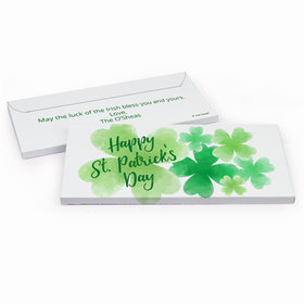 Deluxe Personalized Watercolor Clover St. Patrick's Day Chocolate Bar in Gift Box