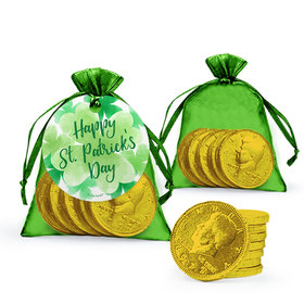 St. Patrick's Day Watercolor Extra Small Organza Bag of Gold Chocolate Coins