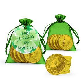Personalized St. Patrick's Day Watercolor Extra Small Organza Bag of Gold Chocolate Coins