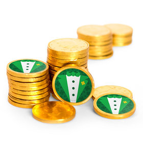 St. Patrick's Day Tux Chocolate Coins with Stickers (84 Pack)