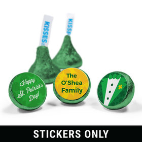 """Personalized St. Patrick's Day Tux 3/4"""" Sticker (108 Stickers)"""