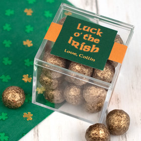 Personalized St. Patrick's Day JUST CANDY® favor cube with Premium Sparkling Prosecco Cordials - Dark Chocolate
