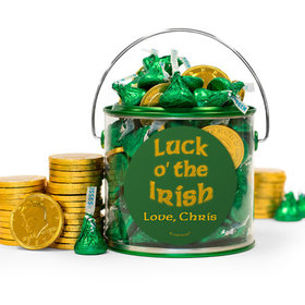 Personalized St. Patrick's Day Luck Hershey's Kisses & Gold Coins Filled Green Paint Can