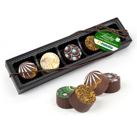 Personalized St. Patrick's Day Feeling Lucky Add Your Logo Gourmet Belgian Chocolate Truffle Gift Box (5 Truffles)