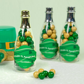 Personalized St. Patrick's Day Clover Ribbons Champagne Bottle with Sixlets Candies