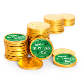 Happy St. Patrick's Day Chocolate Coins with Stickers (84 Pack)