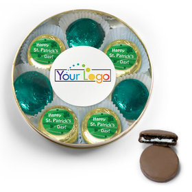 Add Your Logo Happy St. Patrick's Day Chocolate Covered Oreo Cookies Large Gold Plastic Tin