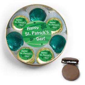 Happy St. Patrick's Day Belgian Chocolate Covered Oreo Cookies Large Gold Plastic Tin