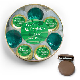 Personalized Happy St. Patrick's Day Belgian Chocolate Covered Oreo Cookies Large Gold Plastic Tin