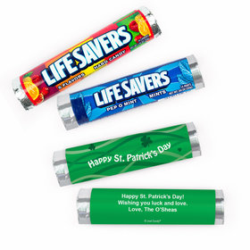Personalized St. Patrick's Day Clover Ribbons Lifesavers Rolls (20 Rolls)