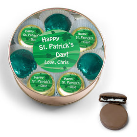 Personalized Happy St. Patrick's Day Chocolate Covered Oreo Cookies Extra-Large Plastic Tin