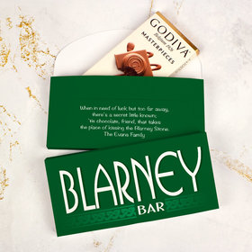 Deluxe Personalized St. Patrick's Day Blarney Bar Godiva Chocolate Bar in Gift Box