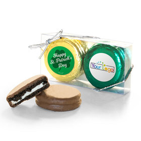 Add Your Logo St. Patricks Day Clovers 2Pk Chocolate Covered Oreo Cookies