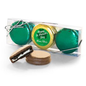 Personalized St. Patricks Day Clovers 3PK Chocolate Covered Oreo Cookies